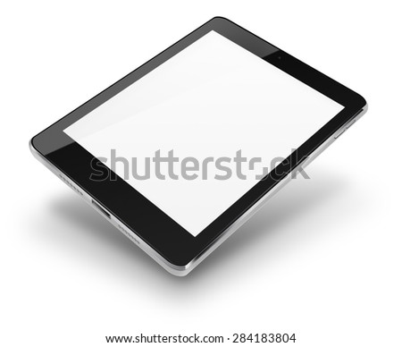 Tablet computer ipade style mockup with blank screen isolated on white background. Highly detailed illustration. - stock photo