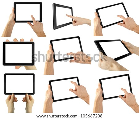 tablet computer isolated in a hand on the white backgrounds.