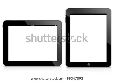 tablet computer isolated on black background
