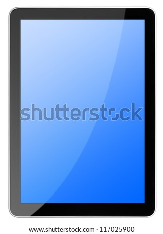 tablet computer isolated on the white backgrounds - stock photo