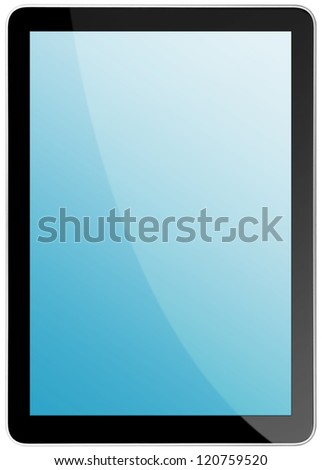 tablet computer isolated on the white backgrounds. - stock photo