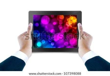 tablet computer Isolated on white background and hand