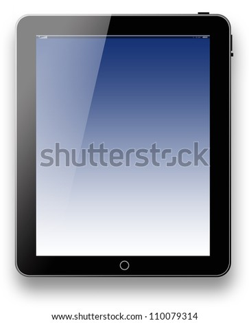 tablet computer pc blue background technology communication internet on white background for design