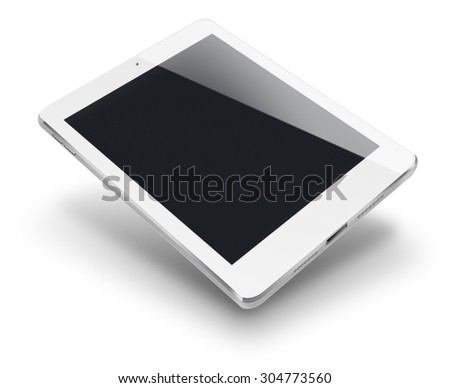 Tablet computer pc in ipade style mockup with black screen. - stock photo
