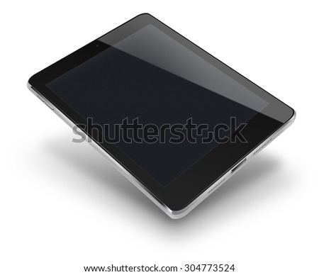 Tablet computer pc in ipade style mockup with black screen isolated on white background. Highly detailed illustration. - stock photo