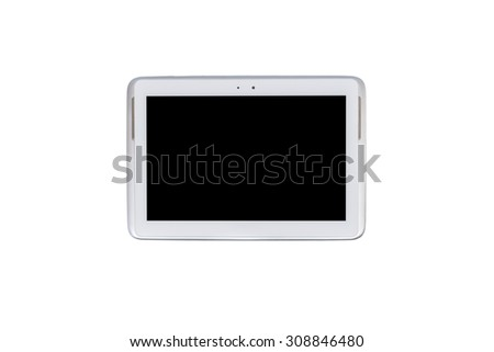 Tablet computer, pen and notebook isolated on over white background - stock photo