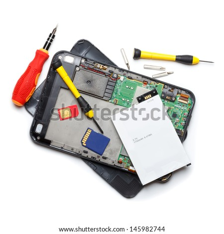 Tablet computer repair, isolated on white - stock photo