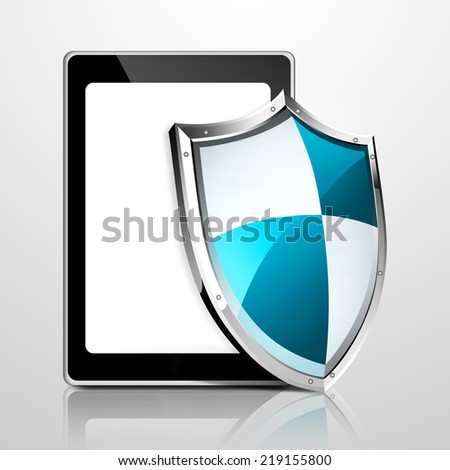 Tablet computer security and anti-virus protection concept - stock photo