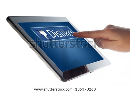 Tablet Computer with a social media dislike button - stock photo