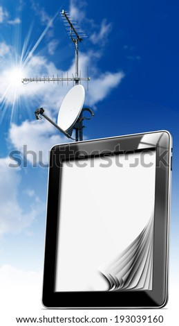 Tablet Computer with Antennas / Black tablet computer with blank pages with satellite dish and two TV antennas with a blue sky  - stock photo