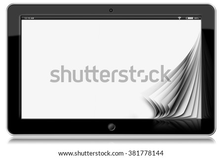Tablet Computer with Blank Pages / Horizontal black tablet computer with blank pages. Isolated on white background - stock photo