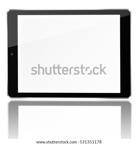 Tablet computer with blank screen and reflection isolated on white background. 3D illustration.