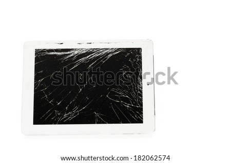 tablet computer with broken glass screen isolated on white background