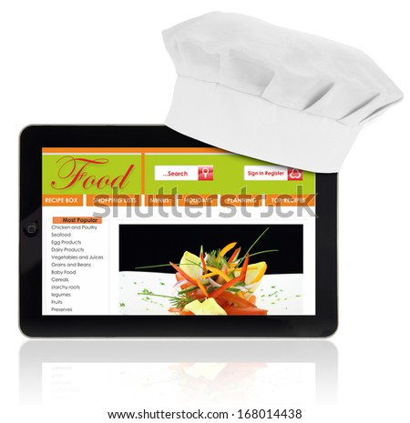 Tablet computer with chef and recipe website template isolated - stock photo