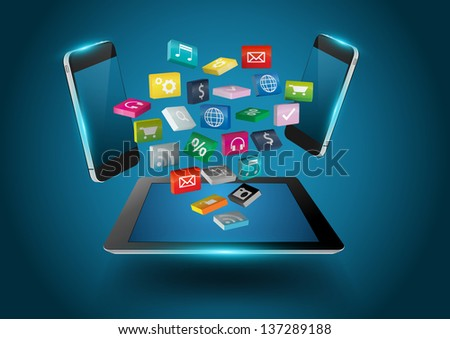 Tablet computer with colorful applications icons, business software and social media networking service concept