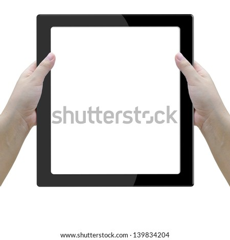 tablet computer with lady hand on white background.