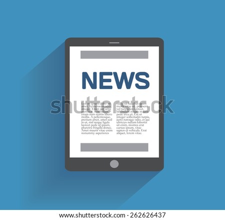 Tablet computer with news icon on the screen. Flat design concept