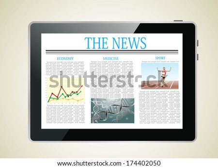 Tablet computer with news on a screen