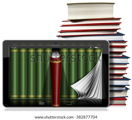 Tablet Computer with Pages and Books / Horizontal black tablet computer with curled pages and books in the screen and a stack of books. Isolated on white background - stock photo