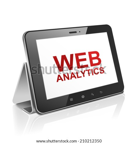 tablet computer with text web analytics on display over white  - stock photo
