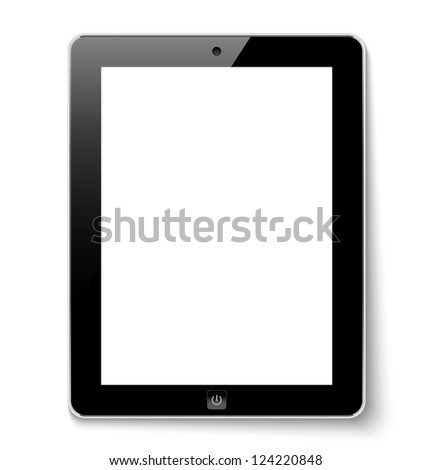 Tablet computer with white screen. Raster version