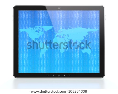 Tablet computer with  World map and flying digits on screen isolated on white background - stock photo