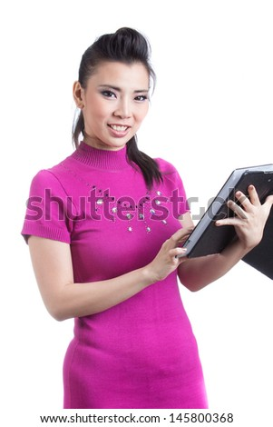 Tablet computer woman/Tablet computer. Woman using digital tablet computer PC smiling happy isolated on white background.