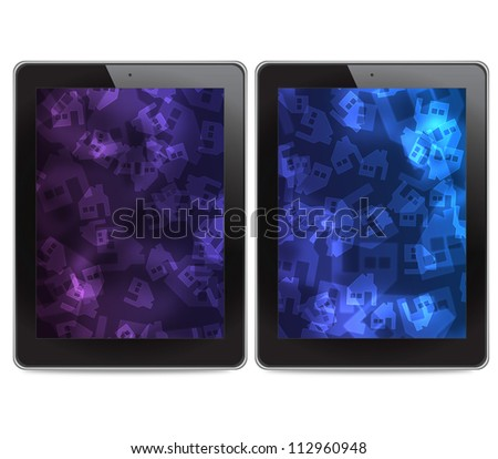 Tablet computers on white background