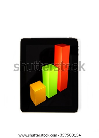Tablet concept statistics signs: signs of statistics on the screen of a tablet