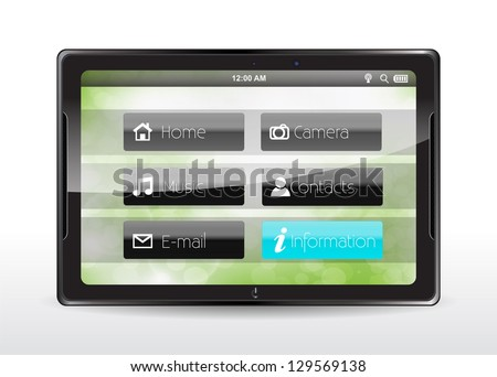 "Tablet concept with a blue ""Information"" button"