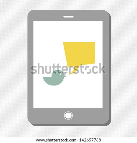 Tablet device with tweet bubble. Raster version, vector file available in portfolio. - stock photo
