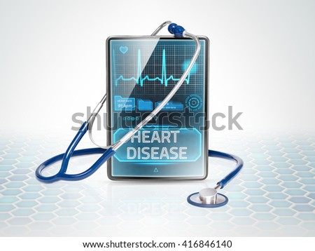 Tablet displaying diagnosis of heart disease - stock photo