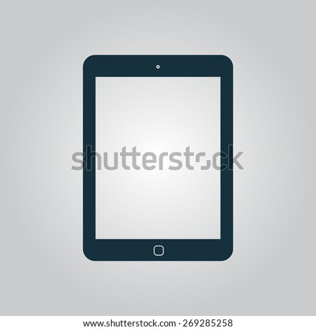Tablet. Flat web icon, sign or button isolated on grey background. Collection modern trend concept design style illustration symbol - stock photo