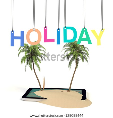 Tablet Holiday Island concept 3D / Tablet PC online booking - stock photo