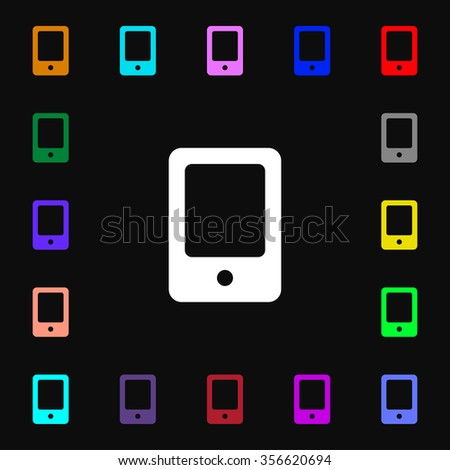 Tablet icon sign. Lots of colorful symbols for your design. illustration - stock photo