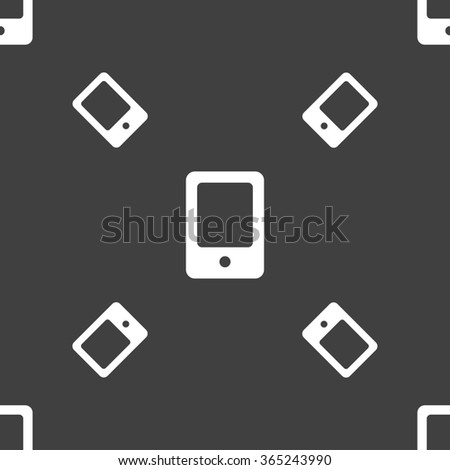 Tablet icon sign. Seamless pattern on a gray background. illustration - stock photo