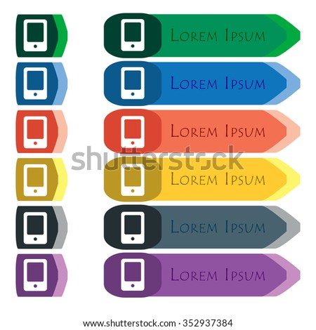 Tablet icon sign. Set of colorful, bright long buttons with additional small modules. Flat design.  - stock photo