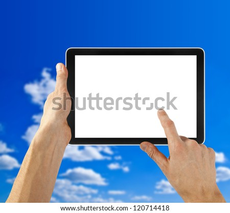 Tablet in hand for advertisement. computer backgrounds - stock photo