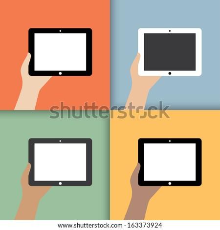 tablet in hands. in color.  illustration.(rasterized version) - stock photo