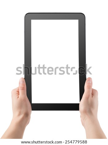 Tablet in hands isolated on a white background - stock photo