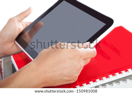 tablet in the hands of digital technology - stock photo