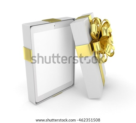 Tablet in white gift box with golden bow and ribbons on white. 3D rendering.