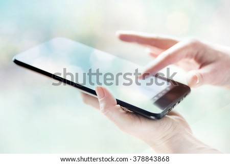 tablet in woman hand social media - stock photo