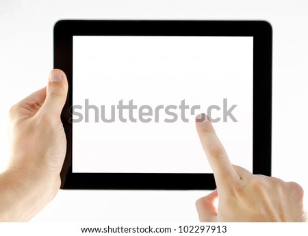 Tablet isolated on white background with two hands in a position to use