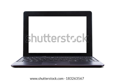 Tablet laptop with blank screen, front view, isolated on white background.