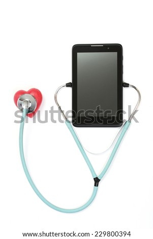 Tablet listening puls red heart stethoscope - on white backgrond - stock photo