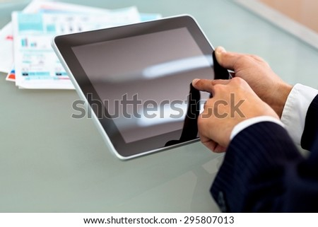 Tablet, man, business.