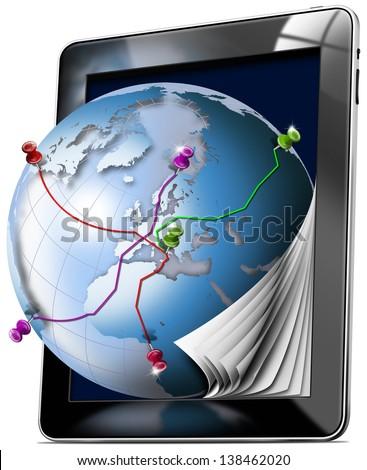 Tablet Map - Gps Navigation Concept / Black tablet with pages and world map - Gps Navigation Concept  - stock photo