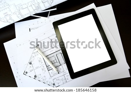 tablet on interior and architectural drawing - stock photo