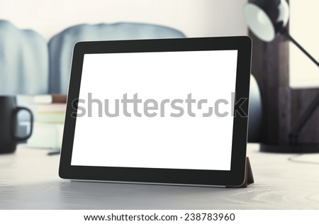 Tablet on table. 3d rendering - stock photo